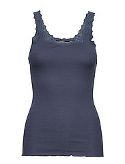 Silk top regular w/rev vintage lace - TRUE NAVY