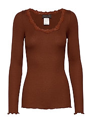 Silk t-shirt regular ls w/rev vinta - AMBER BROWN