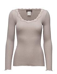 Silk t-shirt regular ls w/rev vinta - PORPOISE