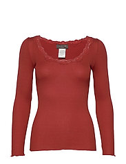 Silk t-shirt regular ls w/rev vinta - RED OCHRE