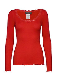Silk t-shirt regular ls w/rev vinta - SPICY RED