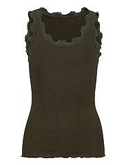 Silk top regular w/vintage lace - BLACK GREEN
