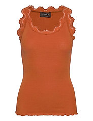 Silk top regular w/vintage lace - BURNT ORANGE