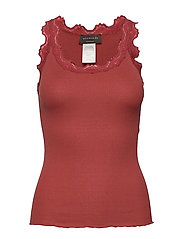 Silk top regular w/vintage lace - BURNT RED
