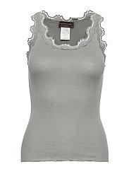 Silk top regular w/vintage lace - LIGHT GREY MELANGE
