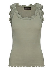 Silk top regular w/vintage lace - SEAGRASS