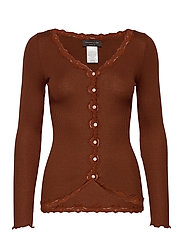 Silk cardigan regular ls w/rev vint - AMBER BROWN