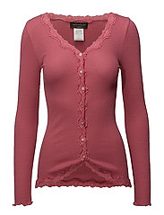 Silk cardigan regular ls w/rev vint - BAROQUE ROSE