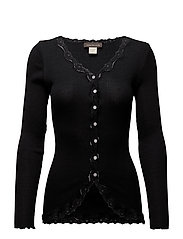 Silk cardigan regular ls w/rev vint - BLACK