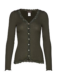Silk cardigan regular ls w/rev vint - BLACK GREEN