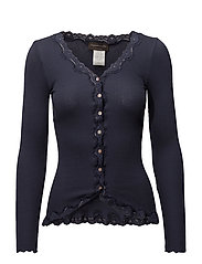 Silk cardigan regular ls w/rev vint - BLUEBERRY