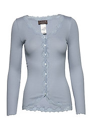 Silk cardigan regular ls w/rev vint - BLUE FOG