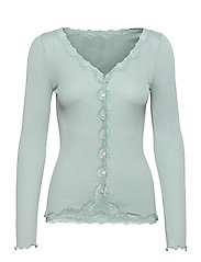 Silk cardigan ls w/vintage lace - BLUE MINT