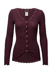 Silk cardigan regular ls w/rev vint - BOURGOGNE