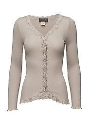 Silk cardigan regular ls w/rev vint - CACAO