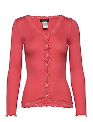 Silk cardigan regular ls w/rev vint - DARK CORAL
