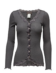 Silk cardigan regular ls w/rev vint - DARK GREY MELANGE