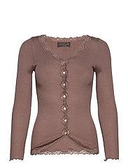 Silk cardigan ls w/vintage lace - DARK SAND