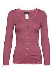 Silk cardigan regular ls w/rev vint - DEEP ROSE