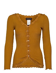 Silk cardigan regular ls w/rev vint - GOLDEN MUSTARD