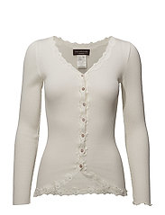 Silk cardigan regular ls w/rev vint - IVORY