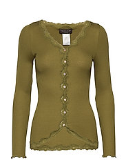 Silk cardigan regular ls w/rev vint - LEAF GREEN