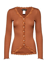 Silk cardigan regular ls w/rev vint - MOCHA