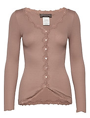Silk cardigan regular ls w/rev vint - NOUGAT BROWN