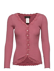 Silk cardigan regular ls w/rev vint - PALE ROSE