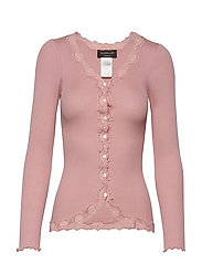 Silk cardigan regular ls w/rev vint - POWDER ROSE