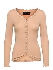 Silk cardigan ls w/vintage lace - PURE SAND