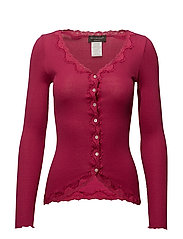 Silk cardigan regular ls w/rev vint - RASPBERRY RED