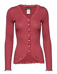 Silk cardigan regular ls w/rev vint - SCARLET RED