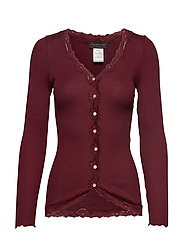 Silk cardigan regular ls w/rev vint - SOFT WINE