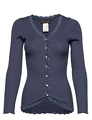 Silk cardigan regular ls w/rev vint - TRUE NAVY