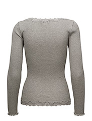 Rosemunde - Silk cardigan regular ls w/rev vint - kardigany - light grey melange - 1