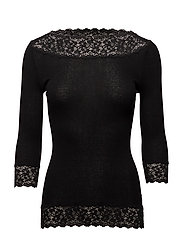 Silk t-shirt regular 3/4 s w/ lace - BLACK