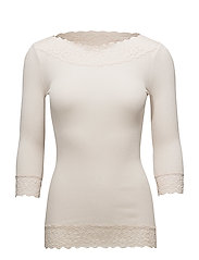 Silk t-shirt regular 3/4 s w/ lace - SOFT POWDER