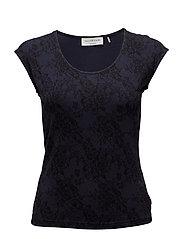T-shirt ss - DARK BLUE LACE PRINT