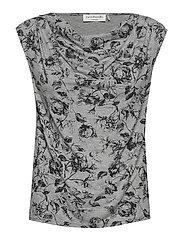 T-shirt ss - GREY VINTAGE ROSE PRINT