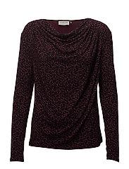 T-shirt ls - BOURGOGNE LEOPARD PRINT