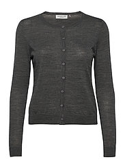 Merino cardigan ls - MEDIUM GREY MELANGE