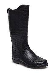 Wellingtons long - BLACK CROCO EMBOSSED