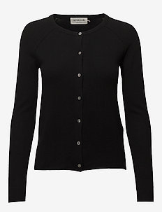Wool & cashmere cardigan ls - koftor - black