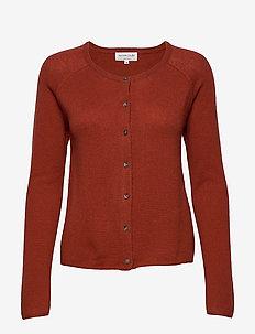 Cardigan ls - cashmere - burnt red