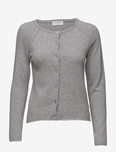 Wool & cashmere cardigan ls - vesten - light grey melange