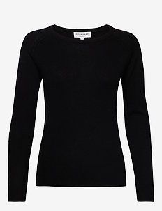 Wool & cashmere pullover ls - swetry - black