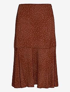 Skirt - midi skjørt - brown dandelion seed print