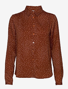 Shirt ls - long-sleeved shirts - brown dandelion seed print