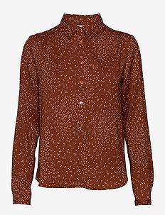 Shirt ls - langærmede skjorter - brown dandelion seed print